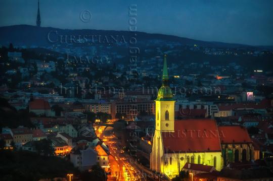 Cathedral of Saint Martin in cityscape of Bratislava